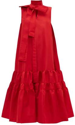 Rochas Pussy-bow Tiered Faille Dress - Womens - Red