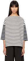 YMC Ecru and Navy Striped Sweatshirt