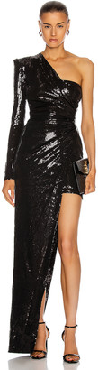 David Koma Ruched Asymmetric Sequin Gown in Black | FWRD