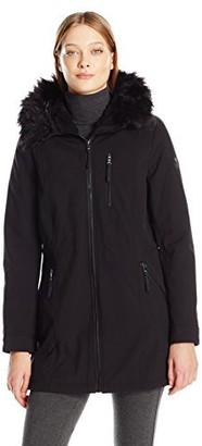 Calvin Klein Women's Softshell Anorak Jacket Lining and Faux Fur Trimmed Hood