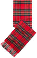 Johnstons of Elgin Fringed Tartan Cashmere Scarf - Red