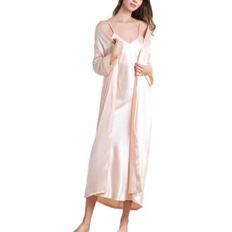 Lu's Chic Women's Satin Dressing Gown Long Sleeve Kimono Robes Silk Cami Dress Pyjama Set Black UK L (TagXL)