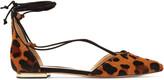 Schutz Toor lace-up leopard-effect calf hair point-toe flats