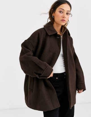 Weekday Judy oversized jacket in dark brown