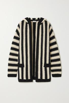 Saint Laurent Hooded Striped Crochet-knit Wool Cardigan - Black