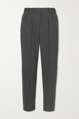 Brunello Cucinelli Cropped Wool-blend Straight-leg Pants - Charcoal