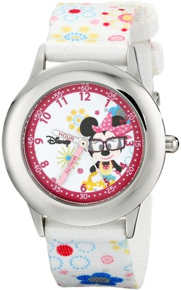 Disney Kids' W000364 Minnie Mouse Stainless Steel Time Teacher Printed Strap Watch