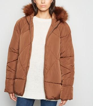 New Look Blue Vanilla Faux Fur Hooded Puffer Jacket