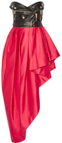 Moschino Faux Leather And Ruffled Satin Midi Dress - Red