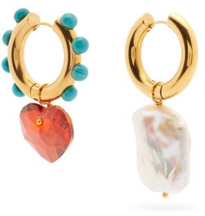 Timeless Pearly Mismatched Pearl And Crystal Gold-plated Earrings - Gold