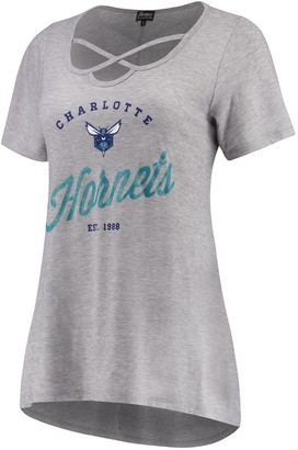 Women's Heathered Gray Charlotte Hornets Criss Cross Front Tri-Blend T-Shirt