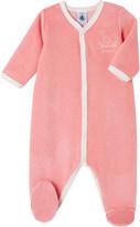 Petit Bateau Bird-embroidered velour sleepsuit 1-24 months