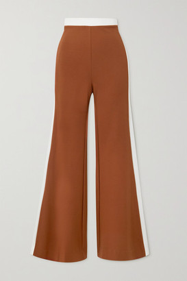 STAUD Milo Striped Stretch-ponte Flared Pants - Tan