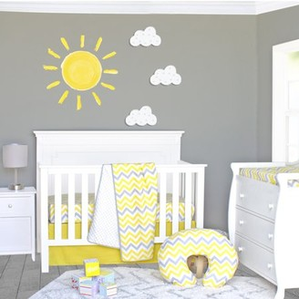 Pam Grace Creations Yellow and Gray Chevron 3 Piece Crib Bedding Set