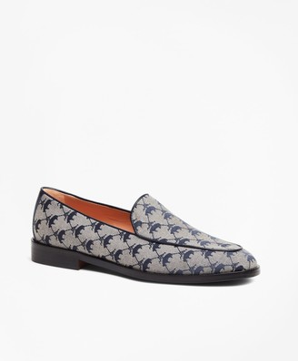 Brooks Brothers Leather-Trimmed Logo Jacquard Loafers