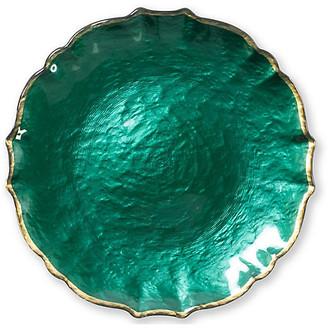Vietri Pastel Glass Salad Plate - Emerald emerald/gold