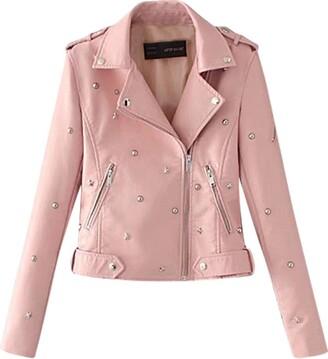 Doldoa Women Outerwear Women's Plus Size Faux Leather Jacket Sale Women Casual Rivet Coat Contemporary Asymmetrical Motorcycle Outwear(Wine 3XL)