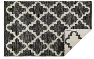 Charlton Homeâ® Catalan Lattice Handmade Dhurrie Cotton Gray/White Area Rug Charlton HomeA