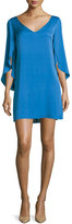 Milly V-Neck Butterfly-Sleeve Silk Crepe Dress, Teal