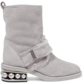 Nicholas Kirkwood Shearling-Trimmed Embellished Suede Ankle Boots