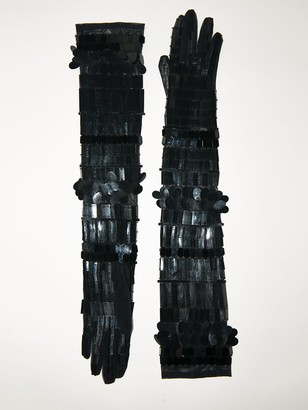 Alberta Ferretti Lvr Exclusive Embellished Long Gloves