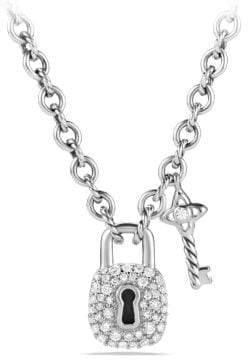 David Yurman Petite Pave Lock And Key Charm Necklace With Diamonds