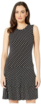 MICHAEL Michael Kors Sliced Dot Sleeveless Flounce Dress (Black/Bone) Women's Clothing