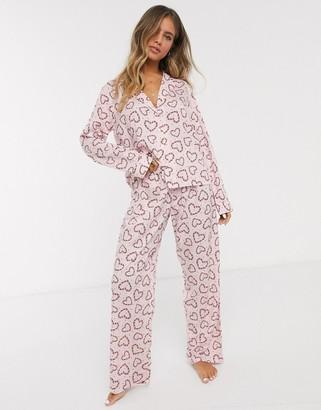 Asos DESIGN Holidays candy cane 100% modal traditional pyjama set