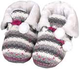 Tofern Slippers Booties Second Skin Knitted Cosy Faux Fur Fluffy Lined Memory Foam Winter Women Ladies Kids Children Girls
