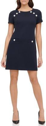 Tommy Hilfiger Button Pique Knit Sheath Dress