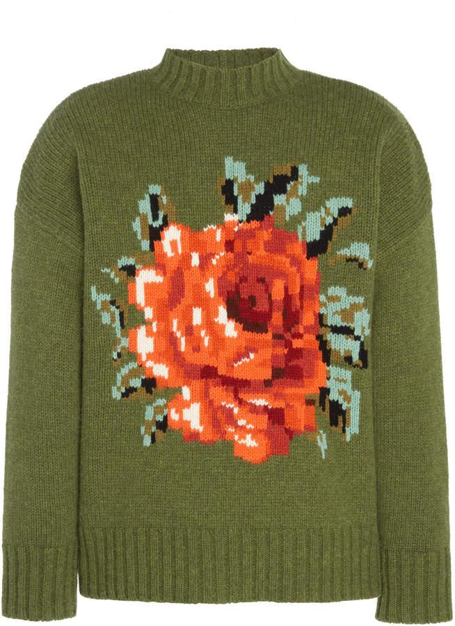 Ami Floral-Intarsia Wool Sweater