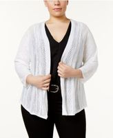 Charter Club Plus Size Pointelle-Knit Cardigan, Created for Macy's