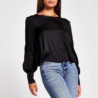 River Island Womens Black long sleeve balloon sleeve blouse