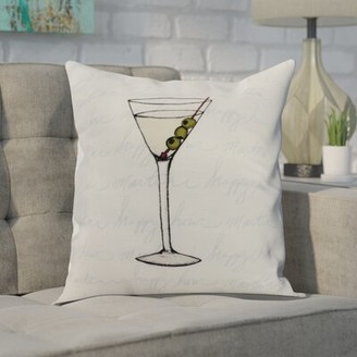 "Wrought Studio Carmack Martini Glass Square Pillow Cover and Insert Color: Pale Blue, Size: 16""x16"""
