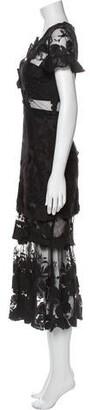 Three floor Lace Pattern Long Dress Black