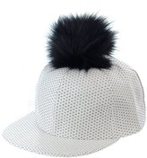 NYFASHION101 Unisex Style Faux Fur Pom Pom Snapback Flat Bill Cap Hat - Faux Croc Bill, Red/Black