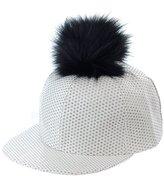 NYFASHION101 Unisex Style Faux Fur Pom Pom Snapback Flat Bill Cap Hat
