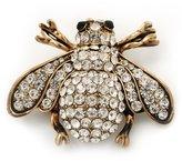 Avalaya Swarovski Crystal Bee Brooch (Burn Metal) - 4.5cm Length