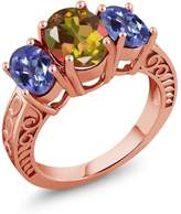 Gem Stone King 3.40 Ct Mango and Purple Blue Mystic Topaz 18K Rose Gold Plated Silver Ring