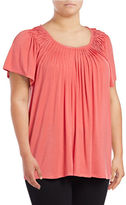Style And Co. Plus Short Sleeve Pleat Neck Top