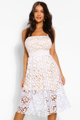 boohoo Corded Lace Detail Midi Skater Dress