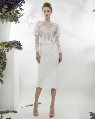 Gemy Maalouf Lace Top With Bishop Sleeves and Fitted Guipure Midi Skirt