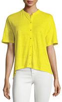 Eileen Fisher Short-Sleeve Button-Front Linen Jersey Top