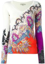Etro printed v-neck jumper