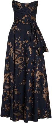 Lena Hoschek Pavlova Paisley-Jacquard Two-Piece Strapless Gown