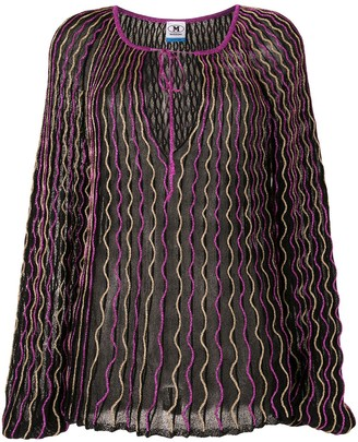 M Missoni Embroidered Waves Metallic Blouse