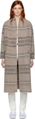 Etoile Isabel Marant Beige Long Striped Wool Coat