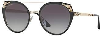 Bvlgari BV6095 Round Sunglasses, Black/Grey Gradient