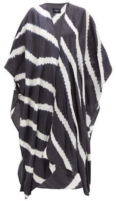 eskandar Shibori-dyed Silk-charmeuse Coat - Womens - Grey White