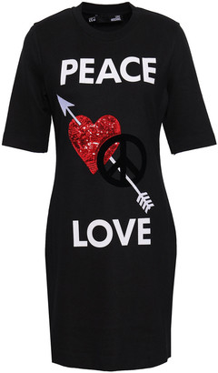 Love Moschino Embellished Printed Jersey Mini Dress